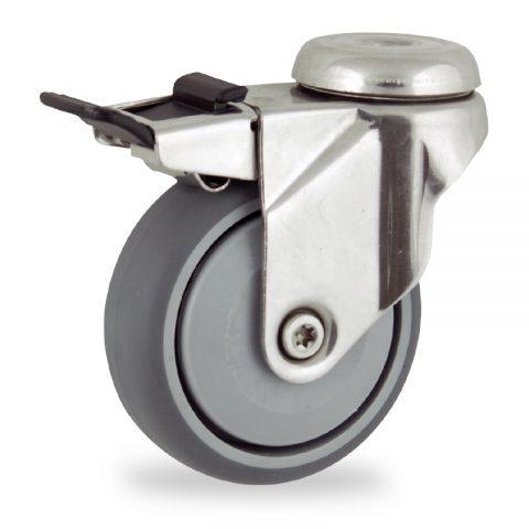 Rueda INOX giratoria con freno 125mm  para  carros,rueda  de  goma gris elástica,rodamiento a bolas de precision.Montaje con pasador