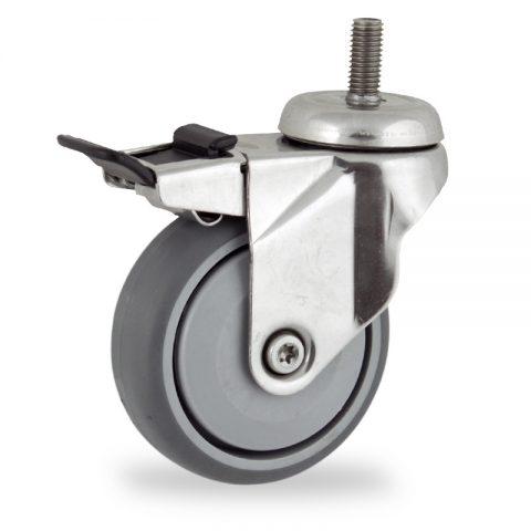 Rueda INOX giratoria con freno 75mm  para  carros,rueda  de  goma gris elástica,rodamiento a bolas de precision.Montaje con espiga roscada