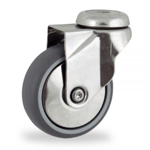 Rueda INOX giratoria  75mm  para  carros,rueda  de  goma gris elástica,eje liso.Montaje con pasador
