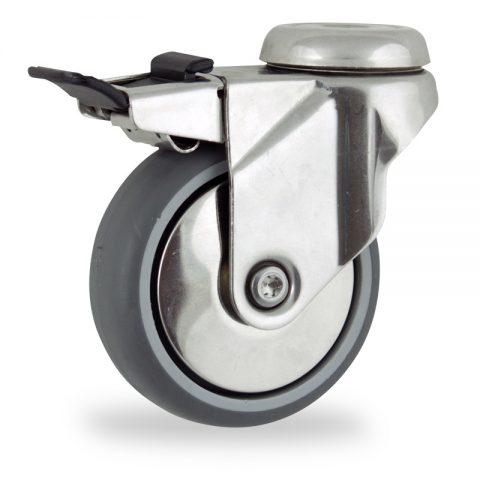 Rueda INOX giratoria con freno 150mm  para  carros,rueda  de  goma gris elástica,eje liso.Montaje con pasador
