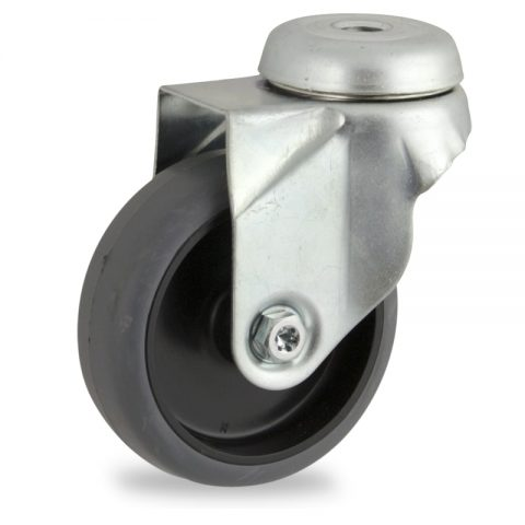 Rueda de acero galvanizado giratoria  75mm  para  carros,rueda  de  goma gris elástica,eje liso.Montaje con pasador