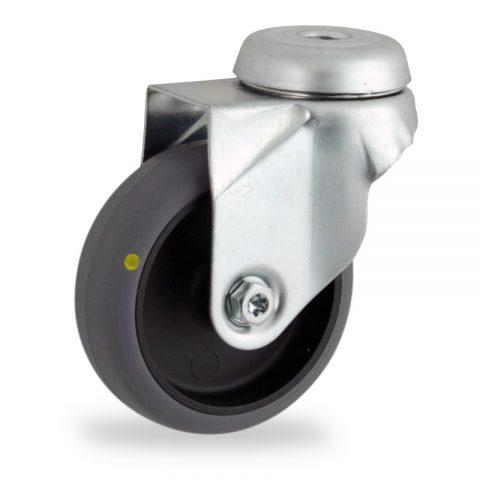 Rueda de acero galvanizado giratoria  75mm  para  carros,rueda  de  conductivas goma gris elástica,rodamiento a bolas.Montaje con pasador
