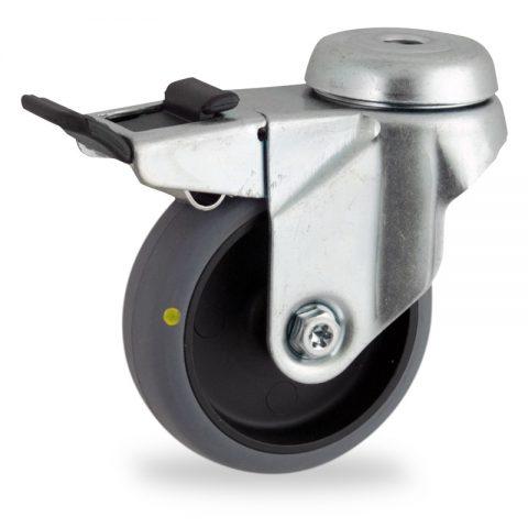Rueda de acero galvanizado giratoria con freno 100mm  para  carros,rueda  de  conductivas goma gris elástica,eje liso.Montaje con pasador