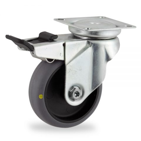 Rueda de acero galvanizado giratoria con freno 75mm  para  carros,rueda  de  conductivas goma gris elástica,eje liso.Montaje con platina