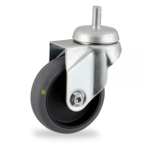 Rueda de acero galvanizado giratoria  125mm  para  carros,rueda  de  conductivas goma gris elástica,rodamiento a bolas.Montaje con espiga roscada