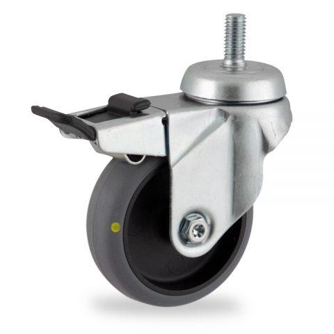 Rueda de acero galvanizado giratoria con freno 125mm  para  carros,rueda  de  conductivas goma gris elástica,rodamiento a bolas.Montaje con espiga roscada