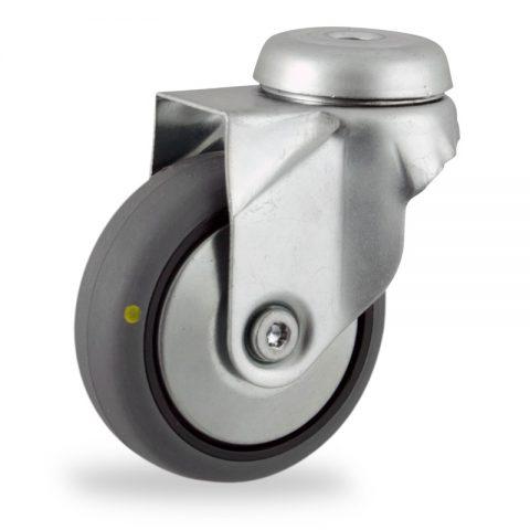 Rueda de acero galvanizado giratoria  50mm  para  carros,rueda  de  conductivas goma gris elástica,eje liso.Montaje con pasador