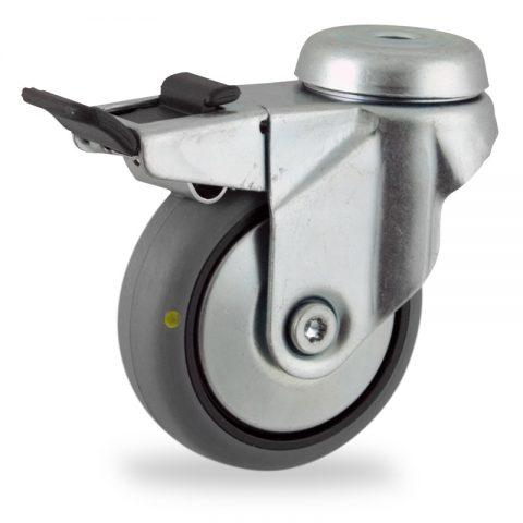 Rueda de acero galvanizado giratoria con freno 50mm  para  carros,rueda  de  conductivas goma gris elástica,eje liso.Montaje con pasador