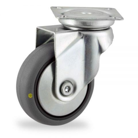Rueda de acero galvanizado giratoria  50mm  para  carros,rueda  de  conductivas goma gris elástica,eje liso.Montaje con platina