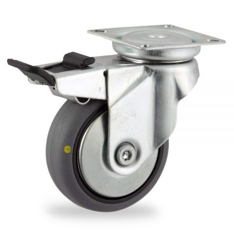 Rueda de acero galvanizado giratoria con freno 125mm  para  carros,rueda  de  conductivas goma gris elástica,eje liso.Montaje con platina