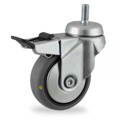 Rueda de acero galvanizado giratoria con freno 100mm  para  carros,rueda  de  conductivas goma gris elástica,eje liso.espiga roscada