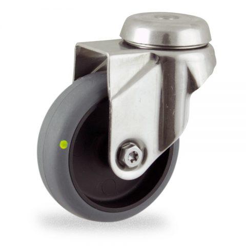 Rueda INOX giratoria  50mm  para  carros,rueda  de  conductivas goma gris elástica,eje liso.Montaje con pasador