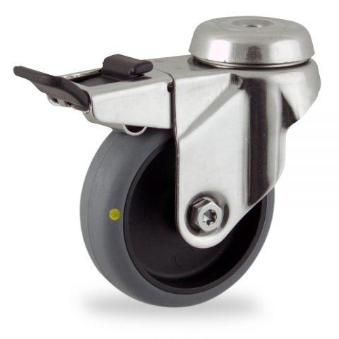 Rueda INOX giratoria con freno 100mm  para  carros,rueda  de  conductivas goma gris elástica,eje liso.Montaje con pasador