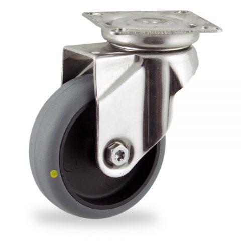 Rueda INOX giratoria  75mm  para  carros,rueda  de  conductivas goma gris elástica,eje liso.Montaje con platina