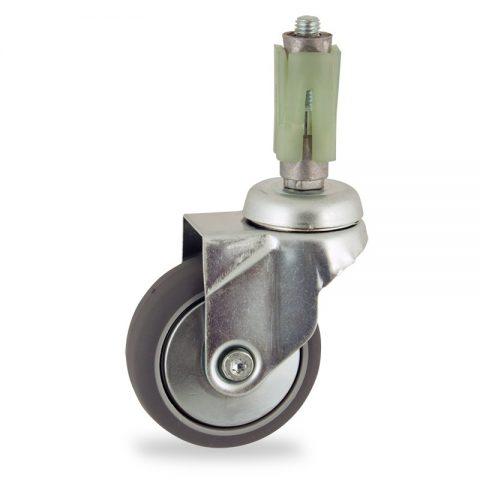 Rueda de acero galvanizado giratoria  50mm  para  carros,rueda  de  goma gris elástica,eje liso.Montaje con expansivos quadrado de plástico 21/24
