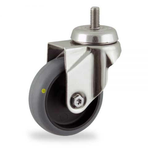 Rueda INOX giratoria  50mm  para  carros,rueda  de  conductivas goma gris elástica,eje liso.Montaje con espiga roscada