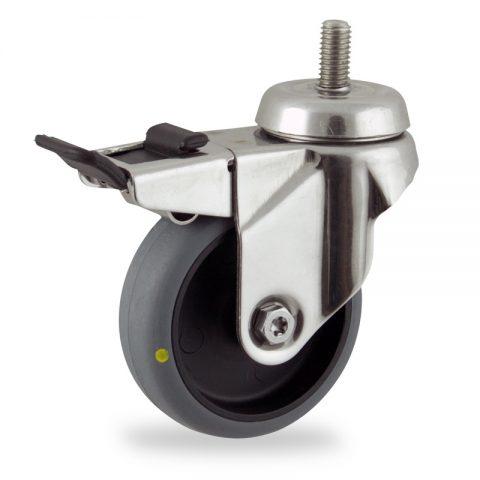 Rueda INOX giratoria con freno 125mm  para  carros,rueda  de  conductivas goma gris elástica,rodamiento a bolas.Montaje con espiga roscada