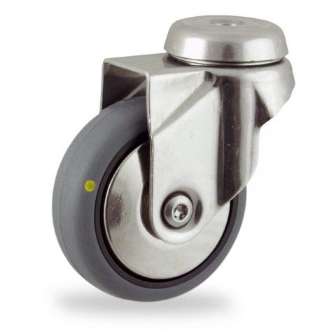 Rueda INOX giratoria  125mm  para  carros,rueda  de  conductivas goma gris elástica,rodamiento a bolas.Montaje con pasador