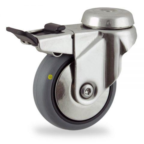 Rueda INOX giratoria con freno 50mm  para  carros,rueda  de  conductivas goma gris elástica,rodamiento a bolas.Montaje con pasador