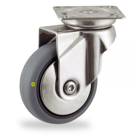 Rueda INOX giratoria  100mm  para  carros,rueda  de  conductivas goma gris elástica,rodamiento a bolas.Montaje con platina