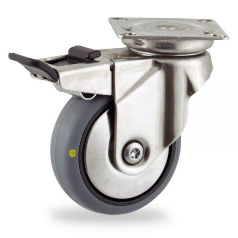 Rueda INOX giratoria con freno 125mm  para  carros,rueda  de  conductivas goma gris elástica,eje liso.Montaje con platina