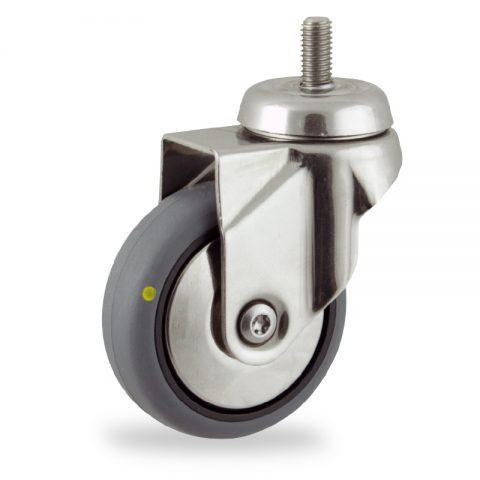 Rueda INOX giratoria  100mm  para  carros,rueda  de  conductivas goma gris elástica,rodamiento a bolas.Montaje con espiga roscada