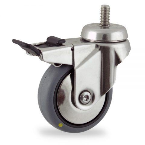 Rueda INOX giratoria con freno 100mm  para  carros,rueda  de  conductivas goma gris elástica,eje liso.Montaje con espiga roscada