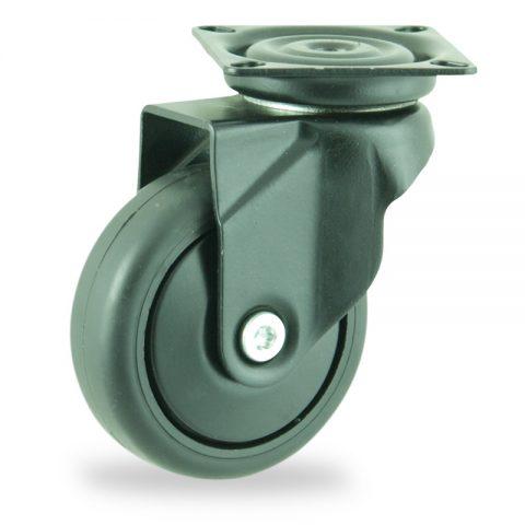 Ruedas de colorlenkrolle  75mm  para  carros,rueda  de  goma gris elástica negro,eje liso.Montaje con platina