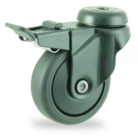 Ruedas de colorlenkrolle mit totalfeststeller  75mm  para  carros,rueda  de  goma gris elástica negro,eje liso.Montaje con pasador