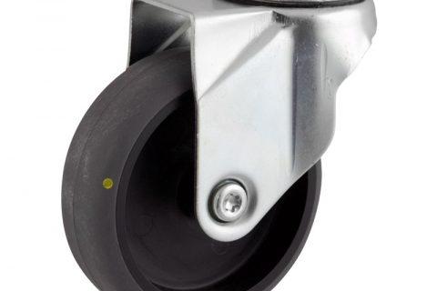 Rueda de acero galvanizado giratoria  100mm  para  carros,rueda  de  conductivas goma gris elástica,eje liso.Montaje con pasador