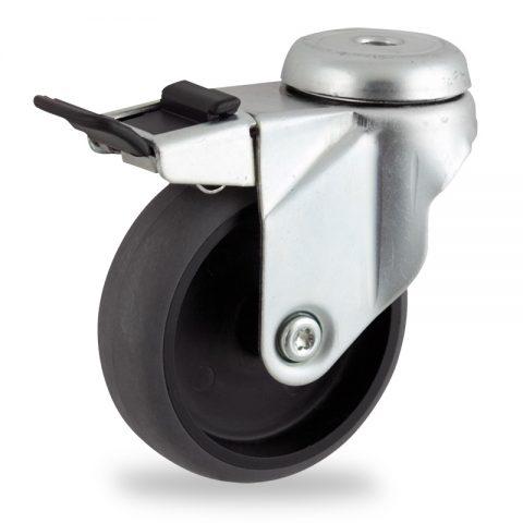 Rueda de acero galvanizado giratoria con freno 125mm  para  carros,rueda  de  conductivas goma gris elástica,eje liso.Montaje con pasador
