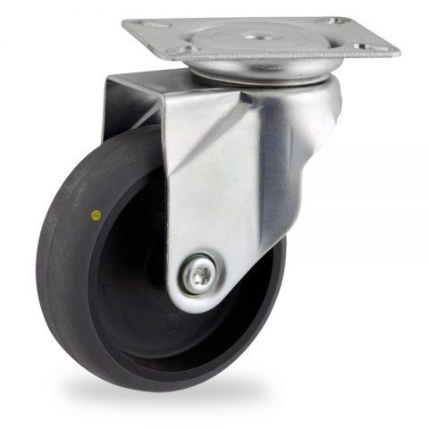 Rueda de acero galvanizado giratoria  125mm  para  carros,rueda  de  conductivas goma gris elástica,eje liso.Montaje con platina