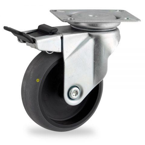 Rueda de acero galvanizado giratoria con freno 75mm  para  carros,rueda  de  conductivas goma gris elástica,rodamiento a bolas.Montaje con platina
