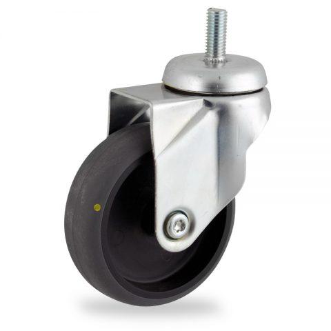 Rueda de acero galvanizado giratoria  75mm  para  carros,rueda  de  conductivas goma gris elástica,eje liso.Montaje con espiga roscada