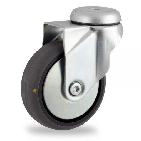 Rueda de acero galvanizado giratoria  100mm  para  carros,rueda  de  conductivas goma gris elástica,rodamiento a bolas.Montaje con pasador