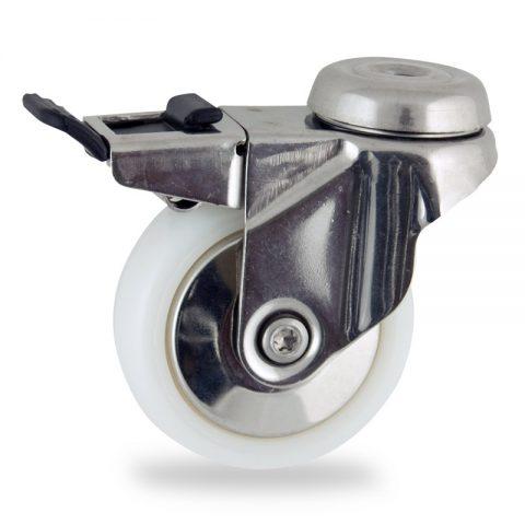 Rueda INOX giratoria con freno 75mm  para  carros,rueda  de  poliamida,eje liso.pasador