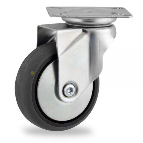 Rueda de acero galvanizado giratoria  100mm  para  carros,rueda  de  conductivas goma gris elástica,eje liso.Montaje con platina