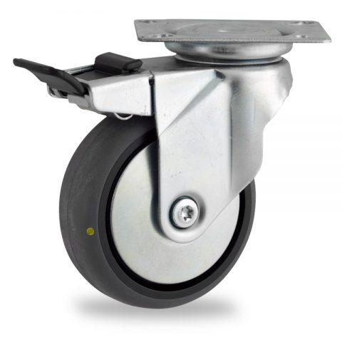 Rueda de acero galvanizado giratoria con freno 100mm  para  carros,rueda  de  conductivas goma gris elástica,eje liso.Montaje con platina