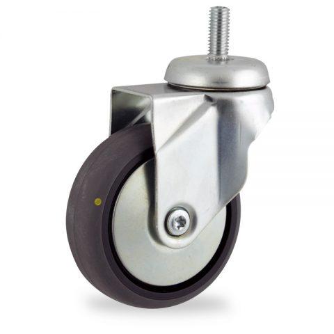 Rueda de acero galvanizado giratoria  150mm  para  carros,rueda  de  conductivas goma gris elástica,eje liso.Montaje con espiga roscada
