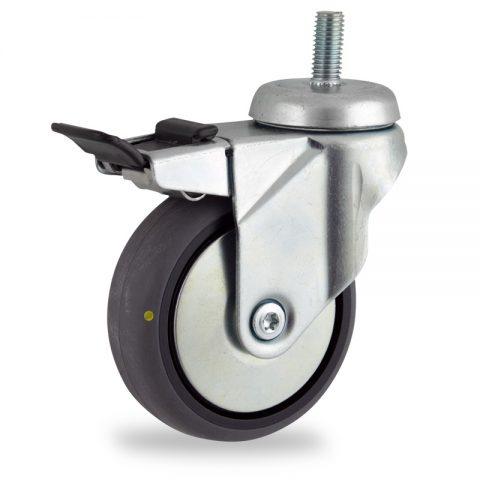 Rueda de acero galvanizado giratoria con freno 125mm  para  carros,rueda  de  conductivas goma gris elástica,eje liso.espiga roscada