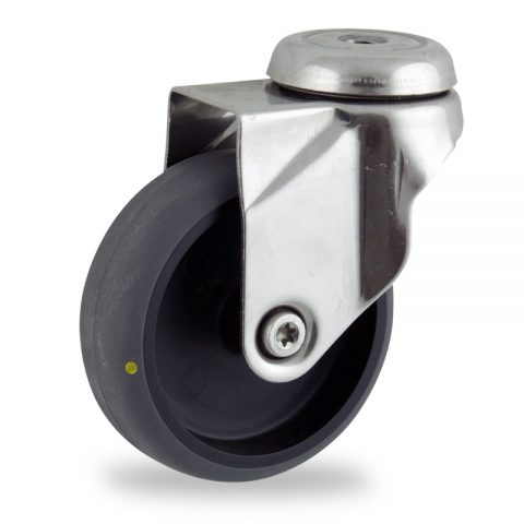 Rueda INOX giratoria  150mm  para  carros,rueda  de  conductivas goma gris elástica,rodamiento a bolas.Montaje con pasador
