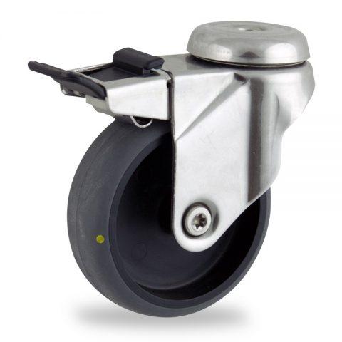 Rueda INOX giratoria con freno 150mm  para  carros,rueda  de  conductivas goma gris elástica,eje liso.Montaje con pasador