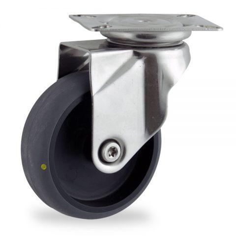 Rueda INOX giratoria  125mm  para  carros,rueda  de  conductivas goma gris elástica,eje liso.Montaje con platina