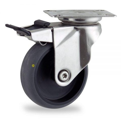 Rueda INOX giratoria con freno 75mm  para  carros,rueda  de  conductivas goma gris elástica,rodamiento a bolas.Montaje con platina