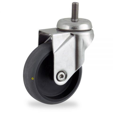 Rueda INOX giratoria  100mm  para  carros,rueda  de  conductivas goma gris elástica,eje liso.Montaje con espiga roscada