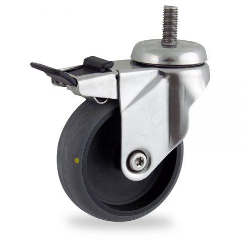 Rueda INOX giratoria con freno 75mm  para  carros,rueda  de  conductivas goma gris elástica,rodamiento a bolas.Montaje con espiga roscada