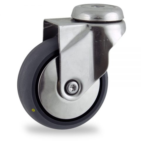 Rueda INOX giratoria  100mm  para  carros,rueda  de  conductivas goma gris elástica,rodamiento a bolas.Montaje con pasador
