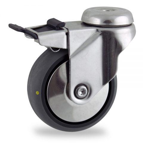 Rueda INOX giratoria con freno 100mm  para  carros,rueda  de  conductivas goma gris elástica,rodamiento a bolas.Montaje con pasador