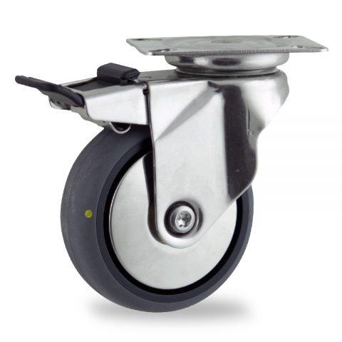Rueda INOX giratoria con freno 75mm  para  carros,rueda  de  conductivas goma gris elástica,eje liso.Montaje con platina