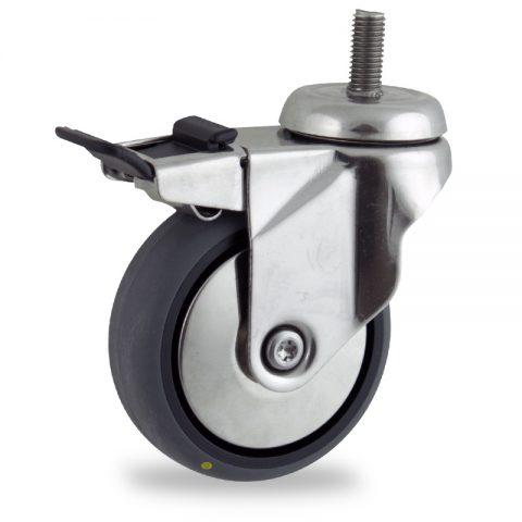 Rueda INOX giratoria con freno 125mm  para  carros,rueda  de  conductivas goma gris elástica,eje liso.Montaje con espiga roscada